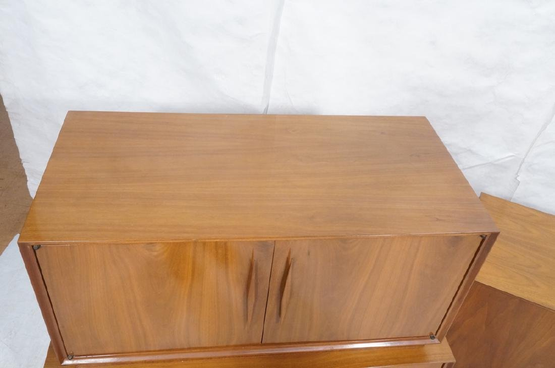 American Modern Walnut High & Low Chests Credenza - 3