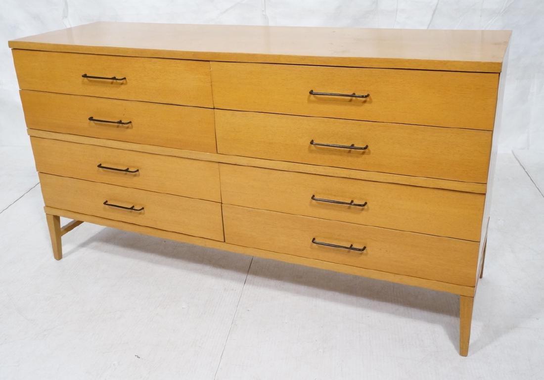 Modern Blond Mahogany 8 Drawer Dresser Credenza.