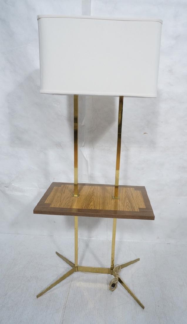 PAUL MCCOBB Style Brass Double Arm Lamp Table. Sq