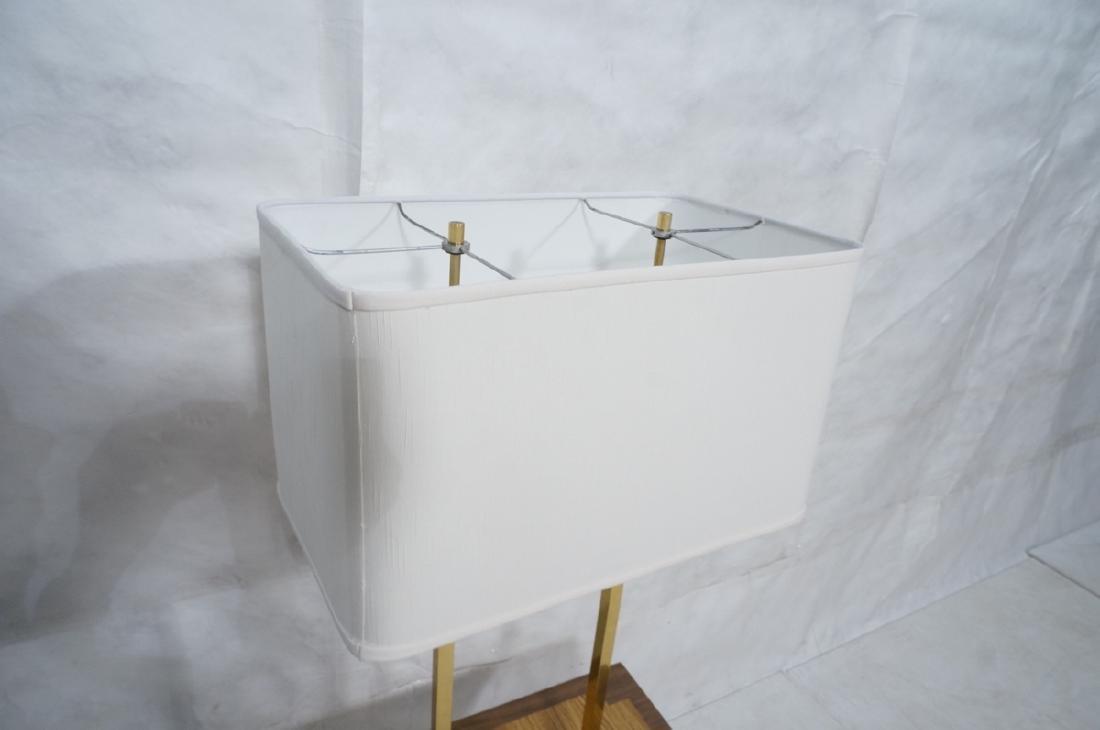 PAUL MCCOBB Style Brass Double Arm Lamp Table. Sq - 4