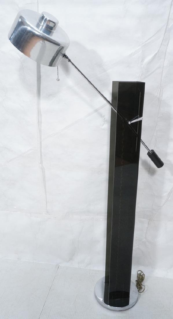 Smoked Lucite Aluminum Modernist Floor Lamp. 3 si