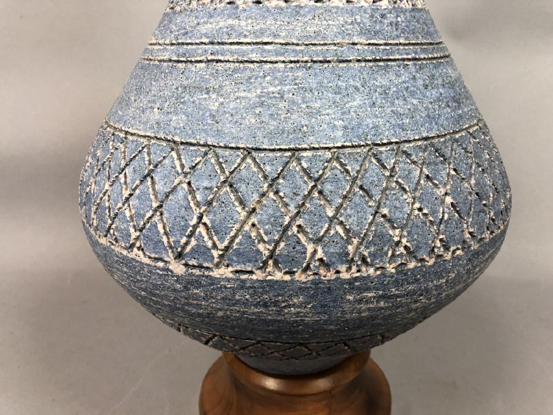 Lg Modernist Blue Glazed Ceramic Table Lamp. Swol - 4