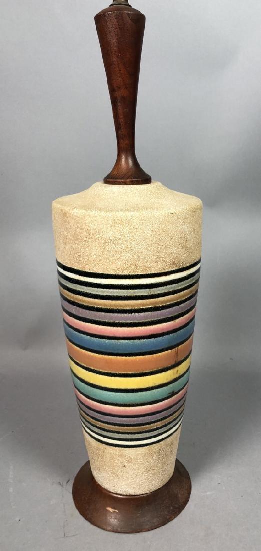Modernist Rainbow Pottery Table Lamp. Textured ve