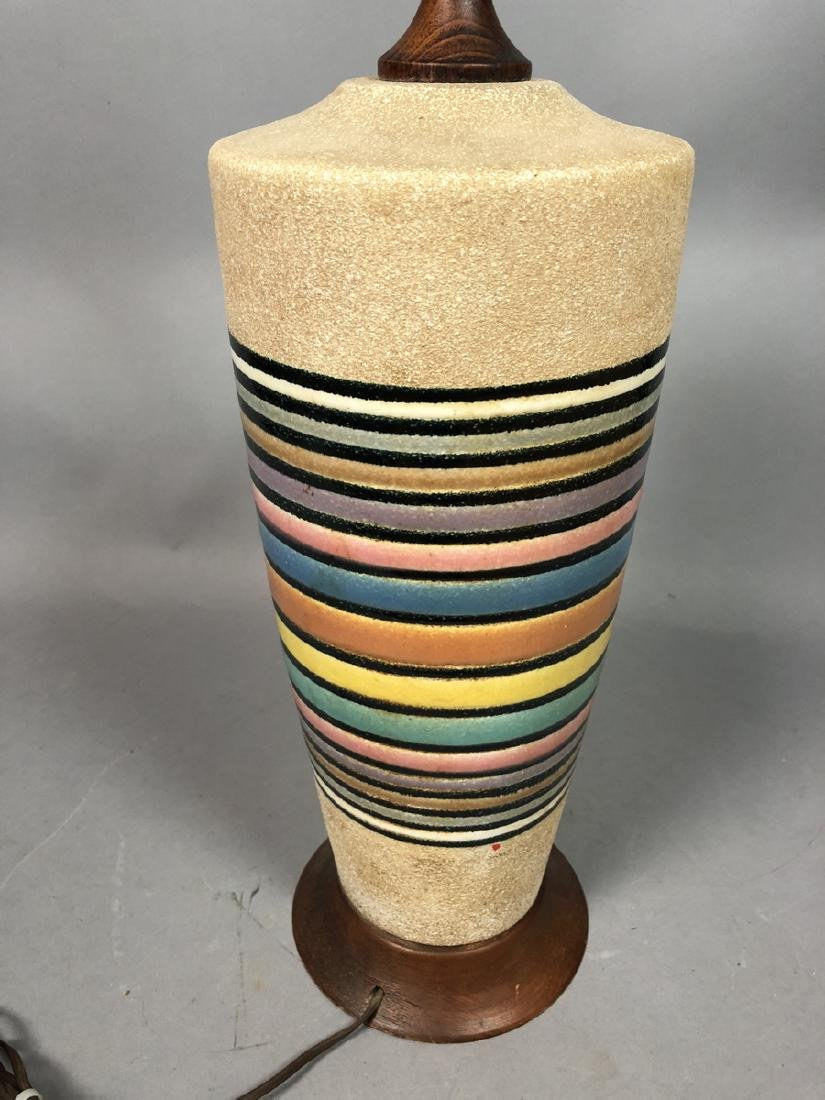 Modernist Rainbow Pottery Table Lamp. Textured ve - 6