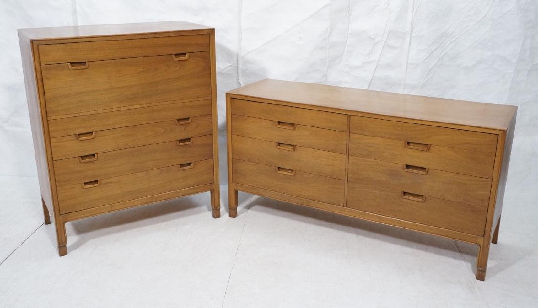 2pc MOUNT AIRY Walnut Bedroom Dressers. JANUS Col