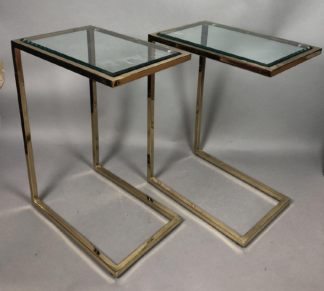 Pr Glass Top Brass Frame Side Tables. Cantilever