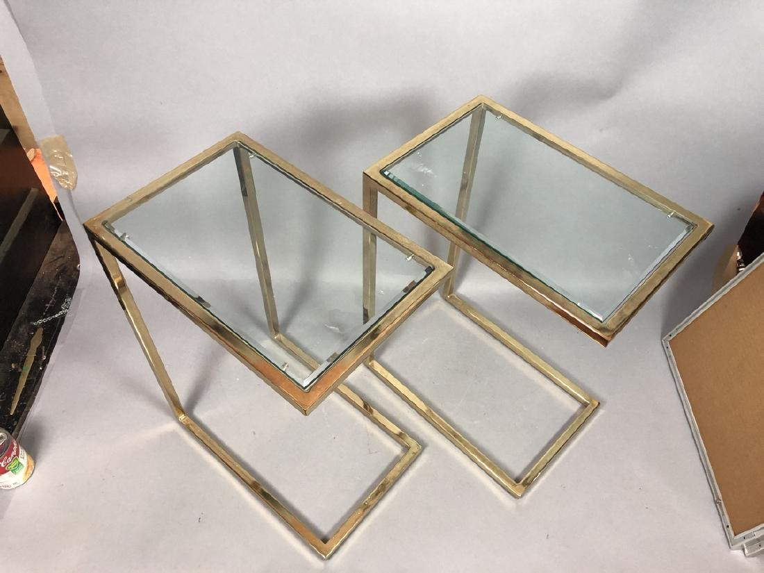 Pr Glass Top Brass Frame Side Tables. Cantilever - 2