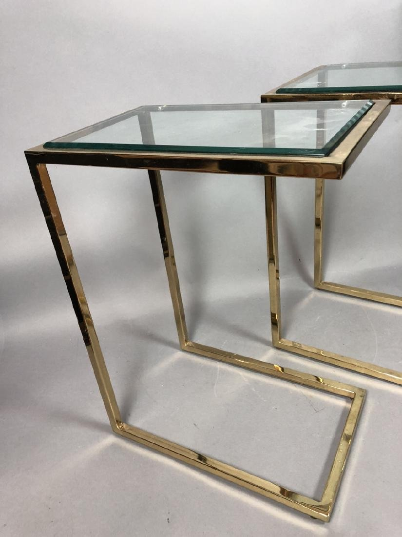 Pr Glass Top Brass Frame Side Tables. Cantilever - 3