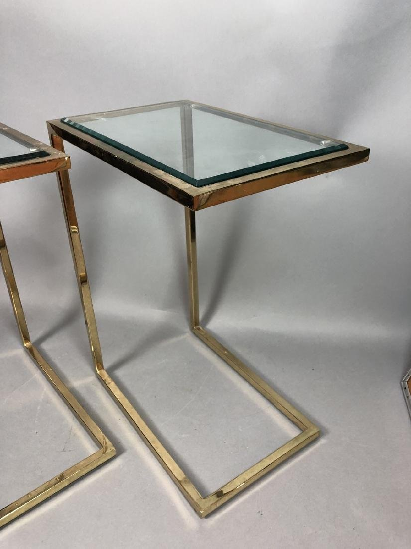 Pr Glass Top Brass Frame Side Tables. Cantilever - 4