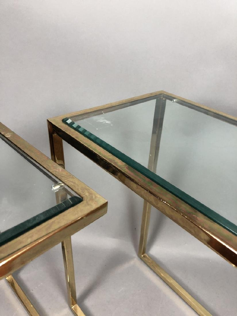 Pr Glass Top Brass Frame Side Tables. Cantilever - 5