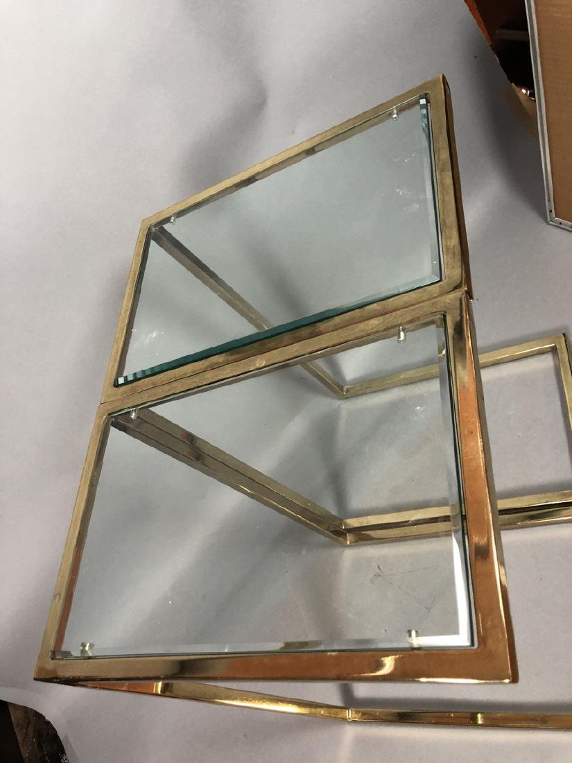 Pr Glass Top Brass Frame Side Tables. Cantilever - 6