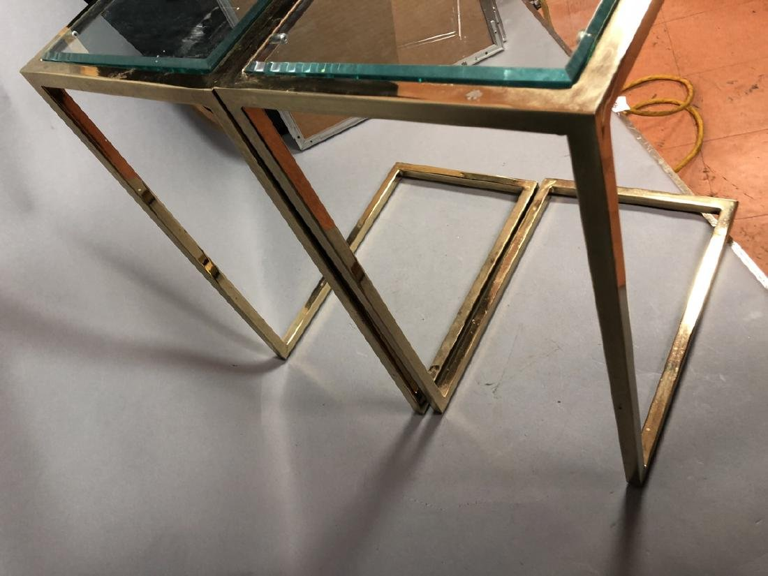 Pr Glass Top Brass Frame Side Tables. Cantilever - 7