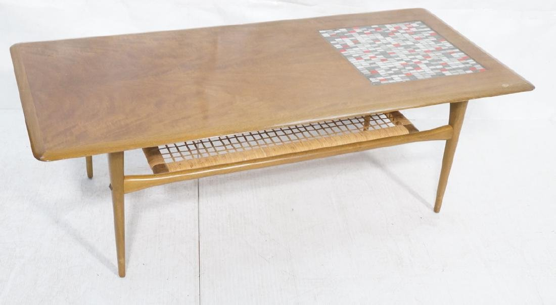 Danish Modern Teak Tile Top Coffee Table.  Square