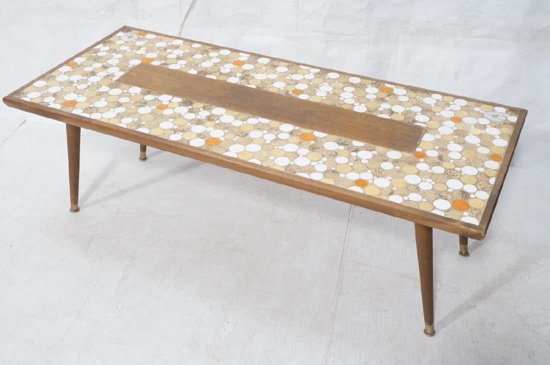 Long wood frame Tile top coffee table.  White, Me