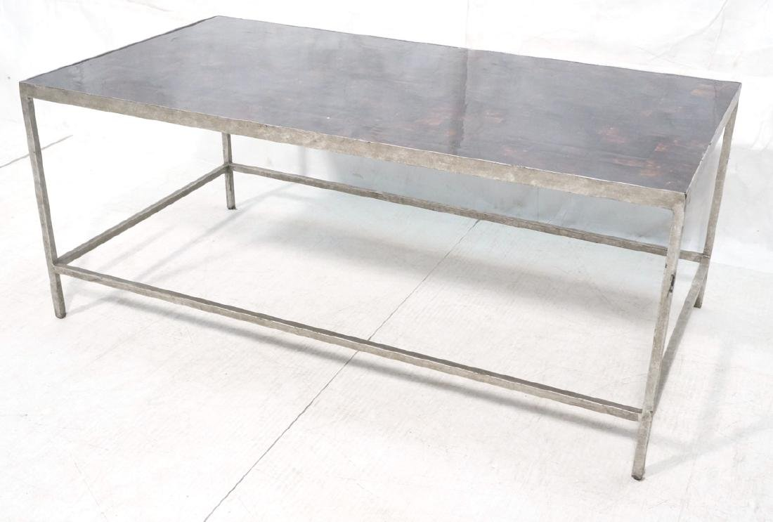 Modernist Metal Frame Coffee Table. Tesselated Sq