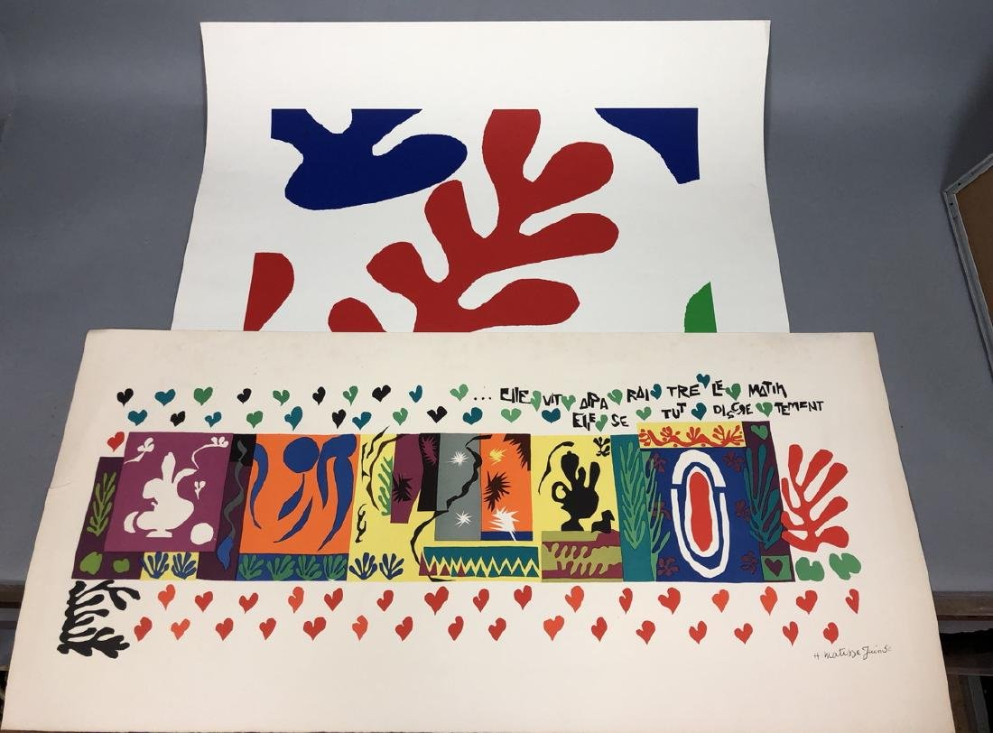 Two HENRI MATISSE Colorful Lithograph Prints. 1).