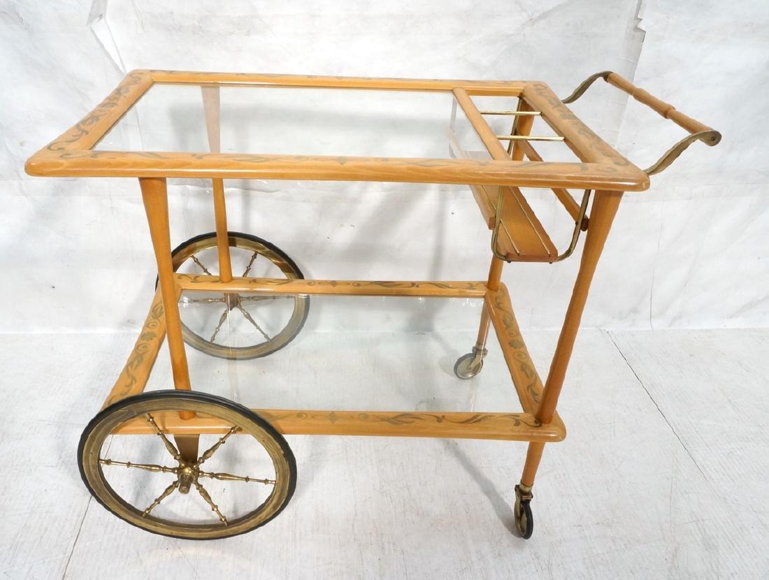 Blond Wood Brass & Glass Rolling Modern Bar Cart.