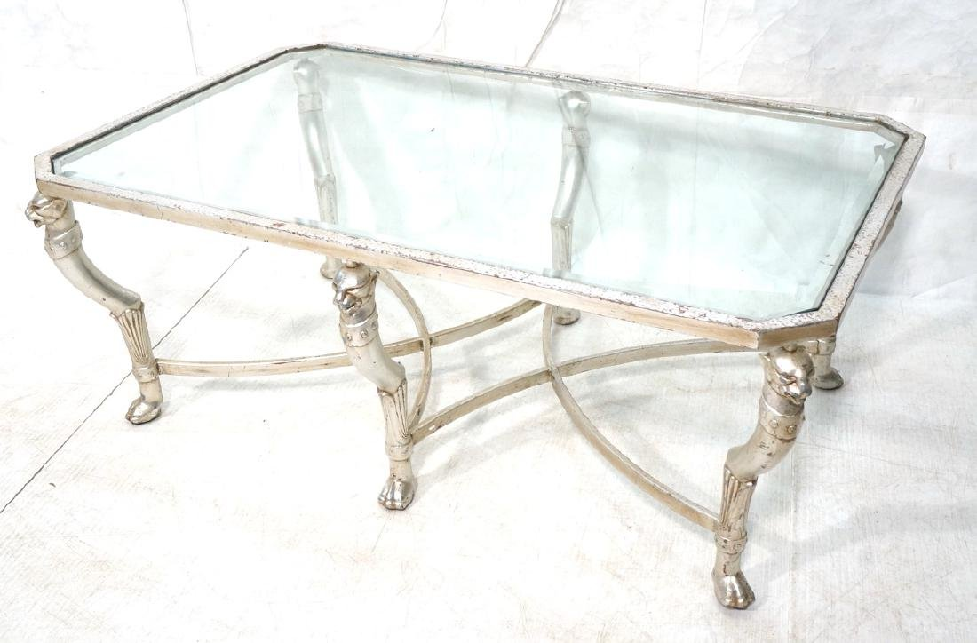 Silvered Leaf Metal Frame Glass Top Cocktail Tabl