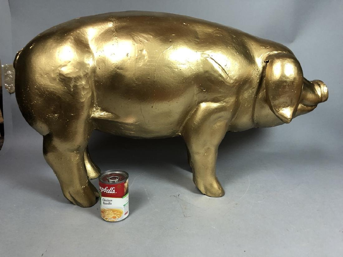 Gold Gilt Painted Cast Metal Figural Pig Sculptur - 7