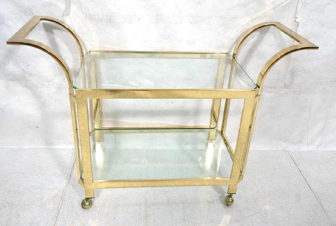 Modern Brass & Glass Rolling Bar Cart. Two glass
