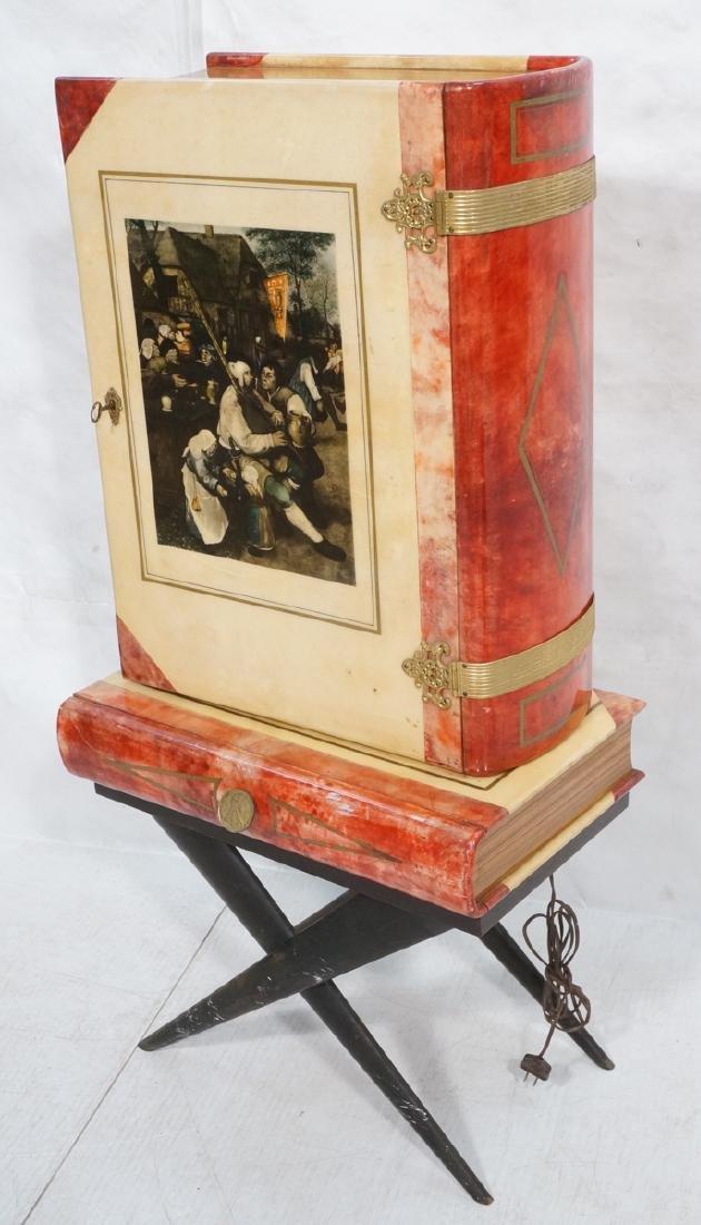 ALDO TURO Lacquered Goatskin Faux Book Bar Cabine