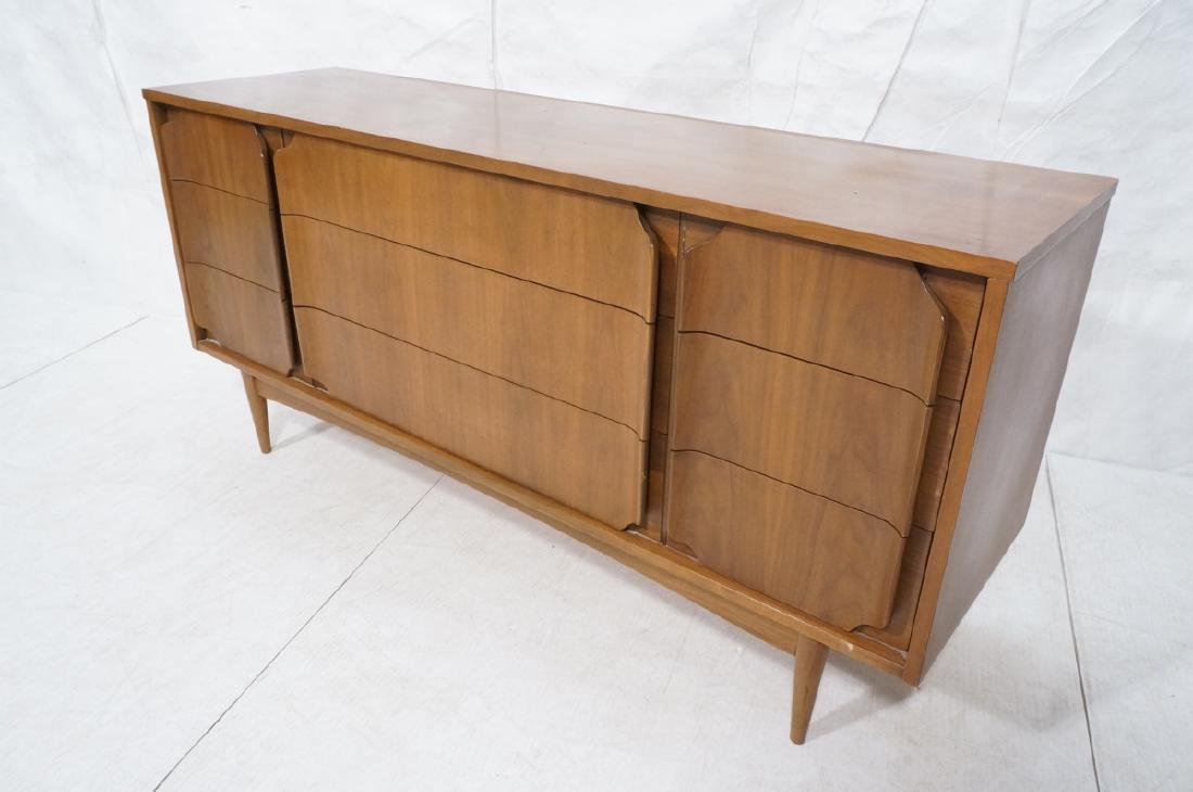 American Modern Walnut Credenza. 9 drawers with s