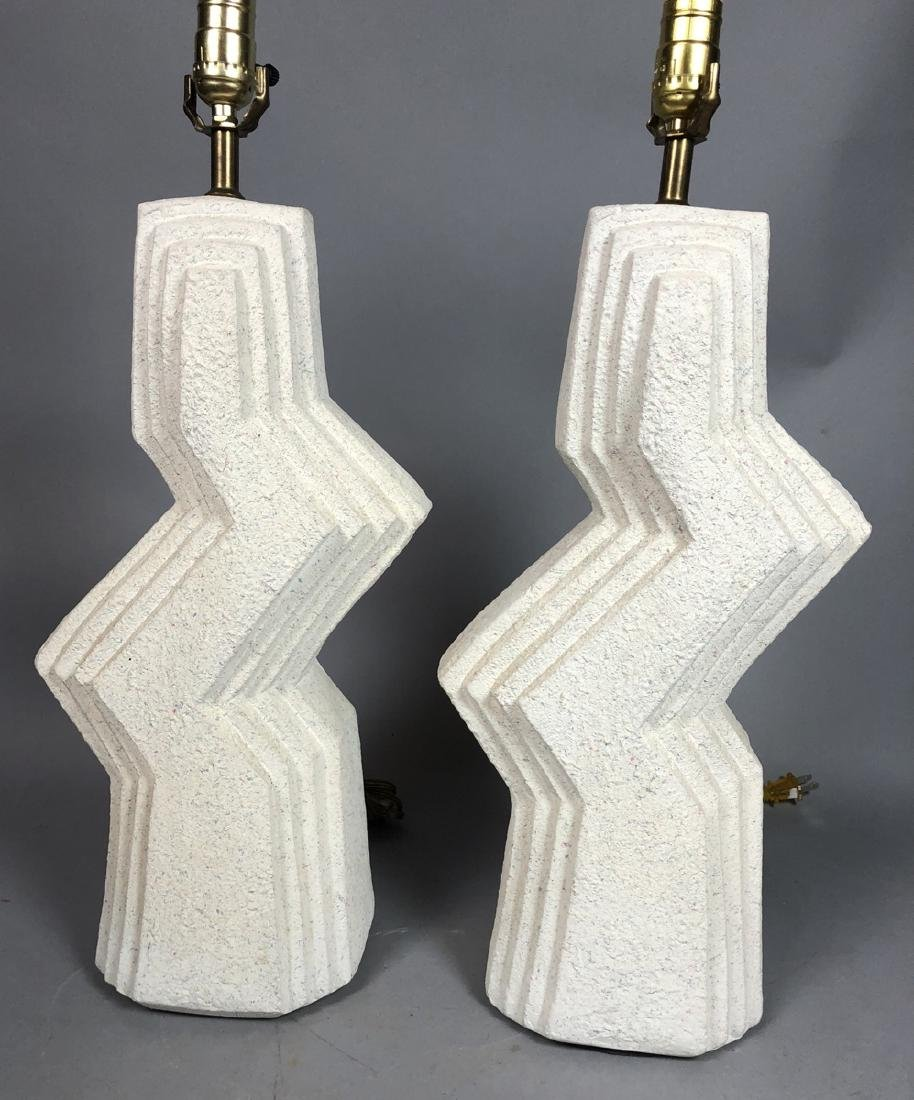 Pr Modern Textured Plaster Table Lamps. Stepped l