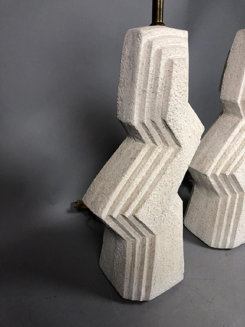 Pr Modern Textured Plaster Table Lamps. Stepped l - 3