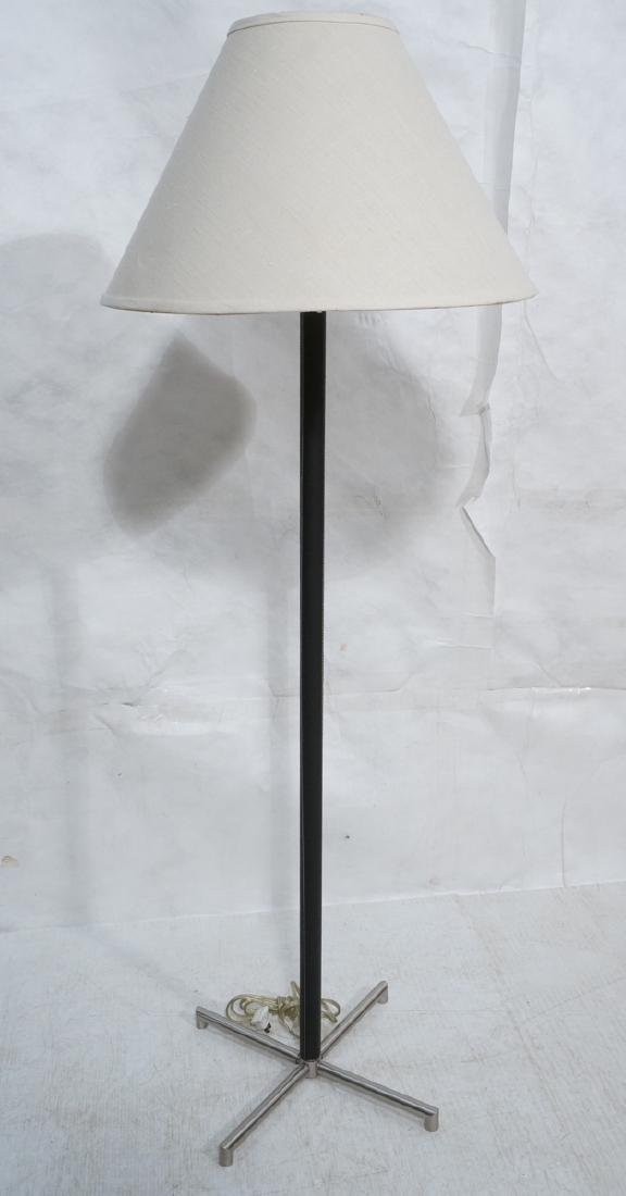 Black Leather Stainless Floor Lamp. 4 stainless f