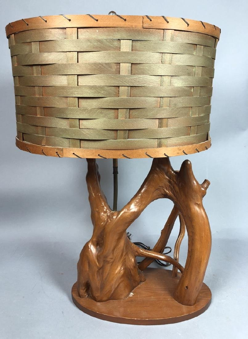 Mid Century Cypress Root Table Lamp. Sculptural f