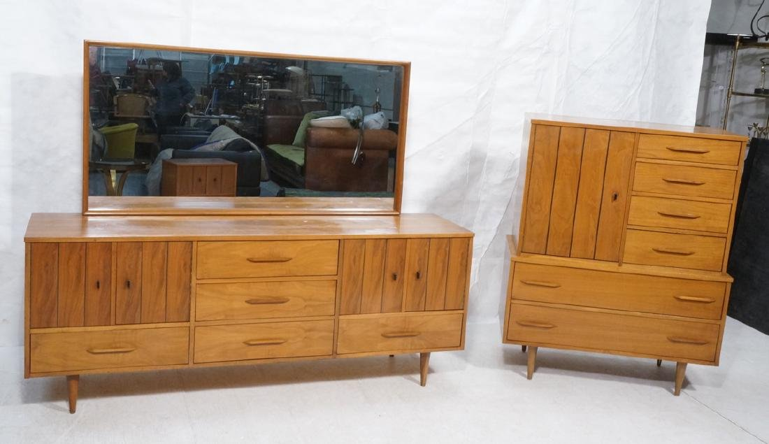 3pc Mid Century Walnut Bedroom Dressers & Mirror.