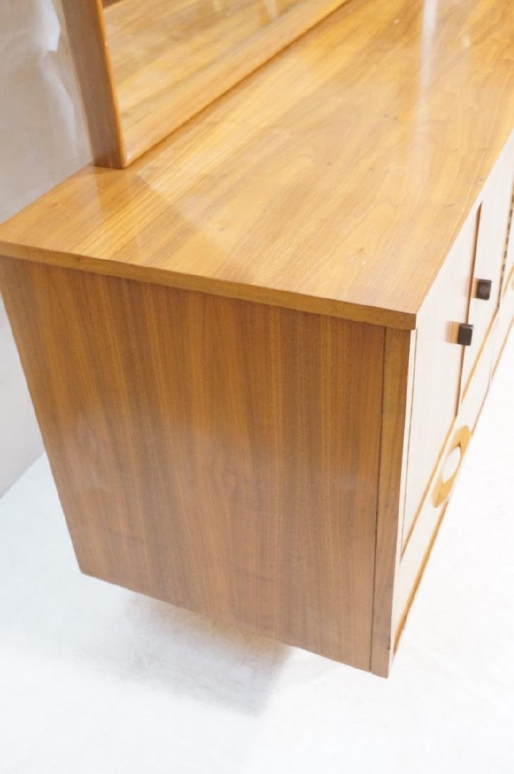3pc Mid Century Walnut Bedroom Dressers & Mirror. - 2