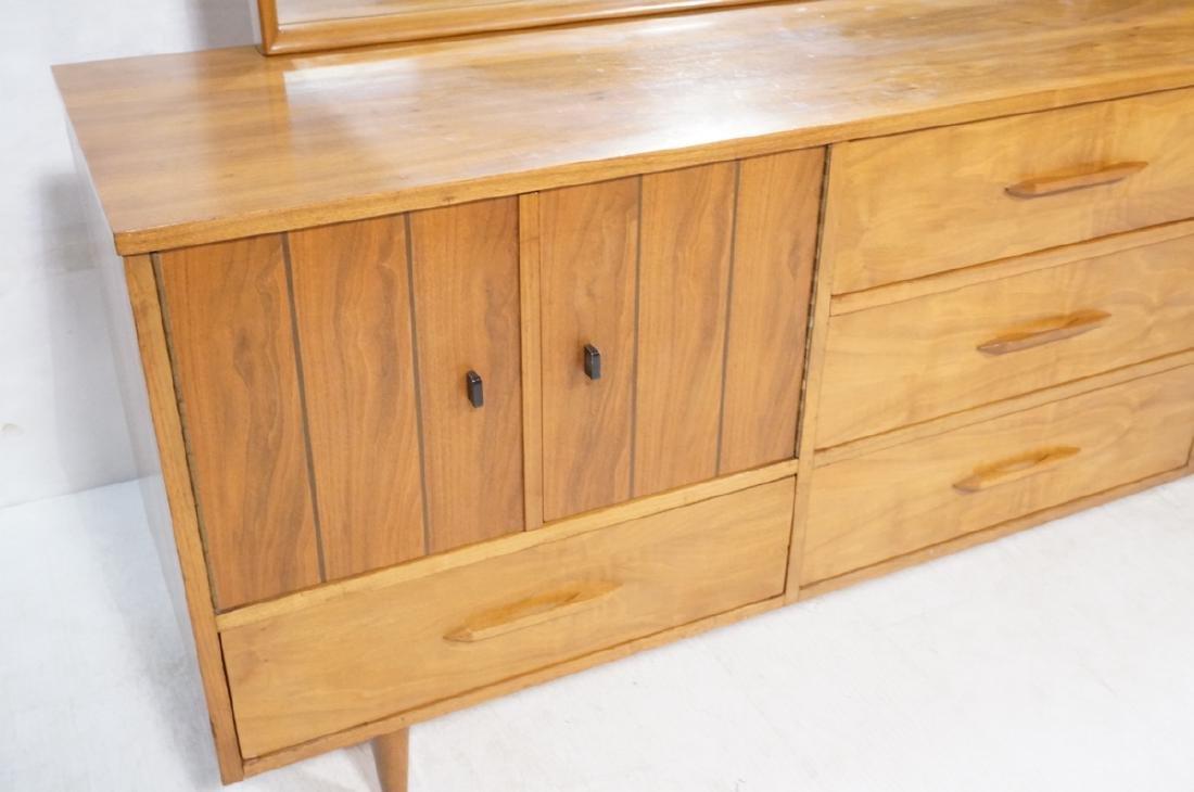 3pc Mid Century Walnut Bedroom Dressers & Mirror. - 3