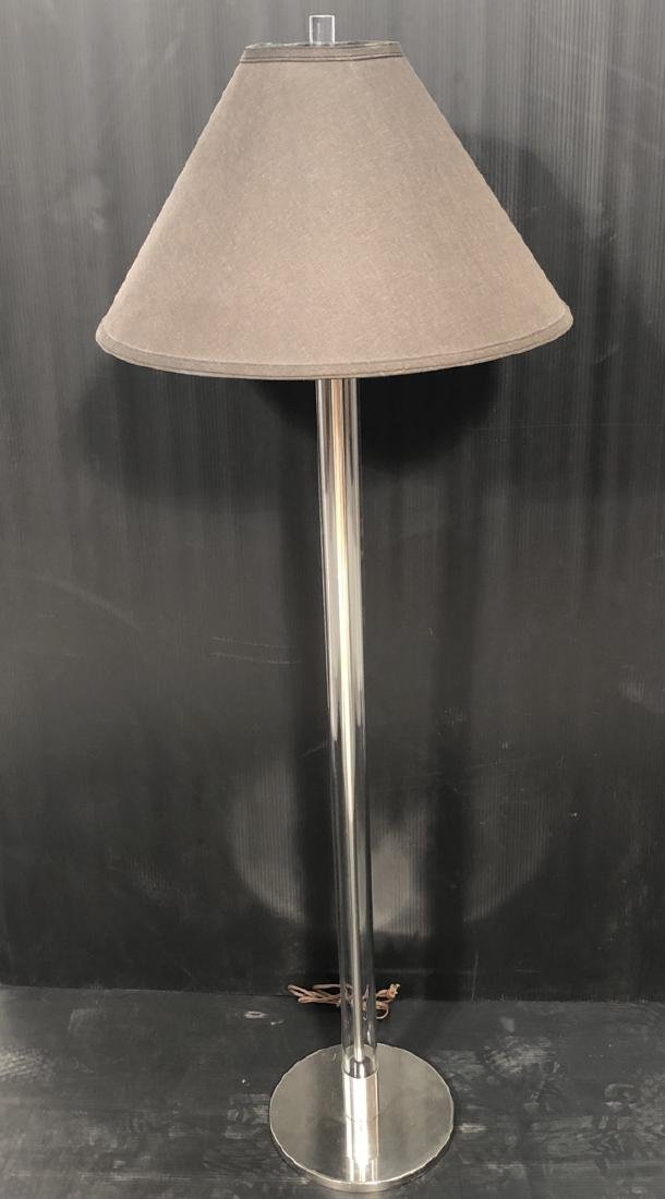 LAUREL Glass Column Modern Floor Lamp. Chrome acc