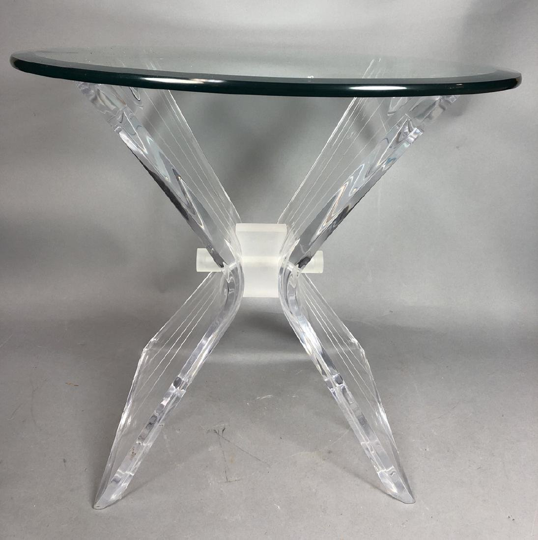 HILL Style Lucite Side Table. Beveled glass top.