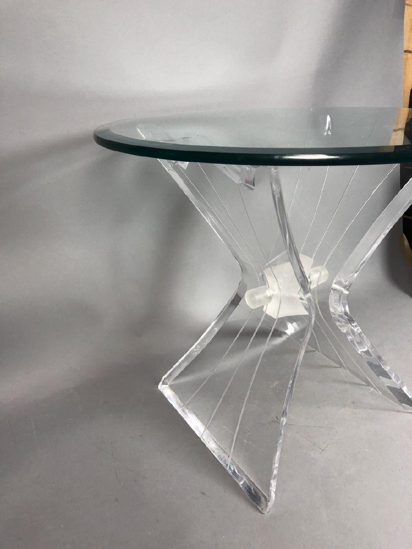 HILL Style Lucite Side Table. Beveled glass top. - 2