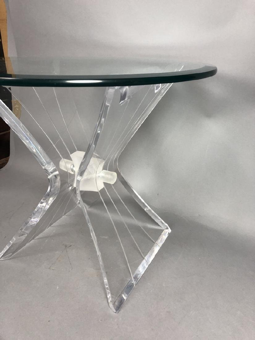 HILL Style Lucite Side Table. Beveled glass top. - 3
