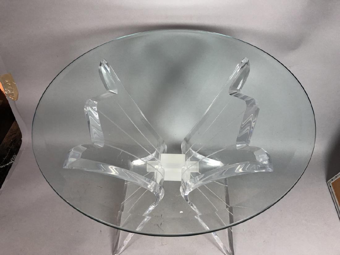 HILL Style Lucite Side Table. Beveled glass top. - 4