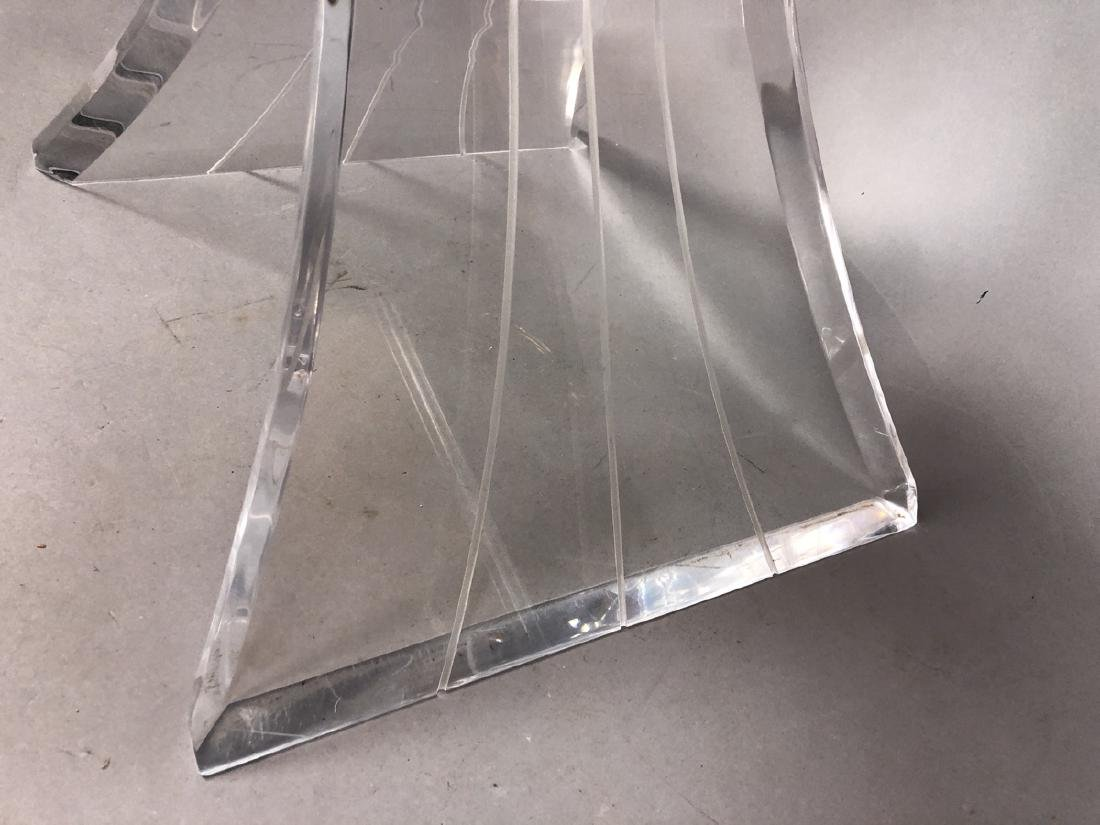 HILL Style Lucite Side Table. Beveled glass top. - 6