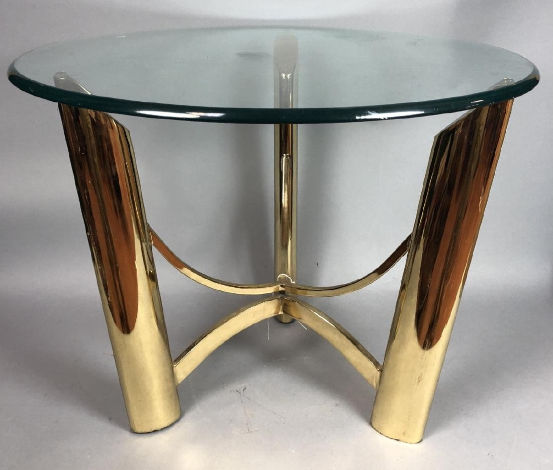 Tri Legged Modern Brass Glass Side Table.