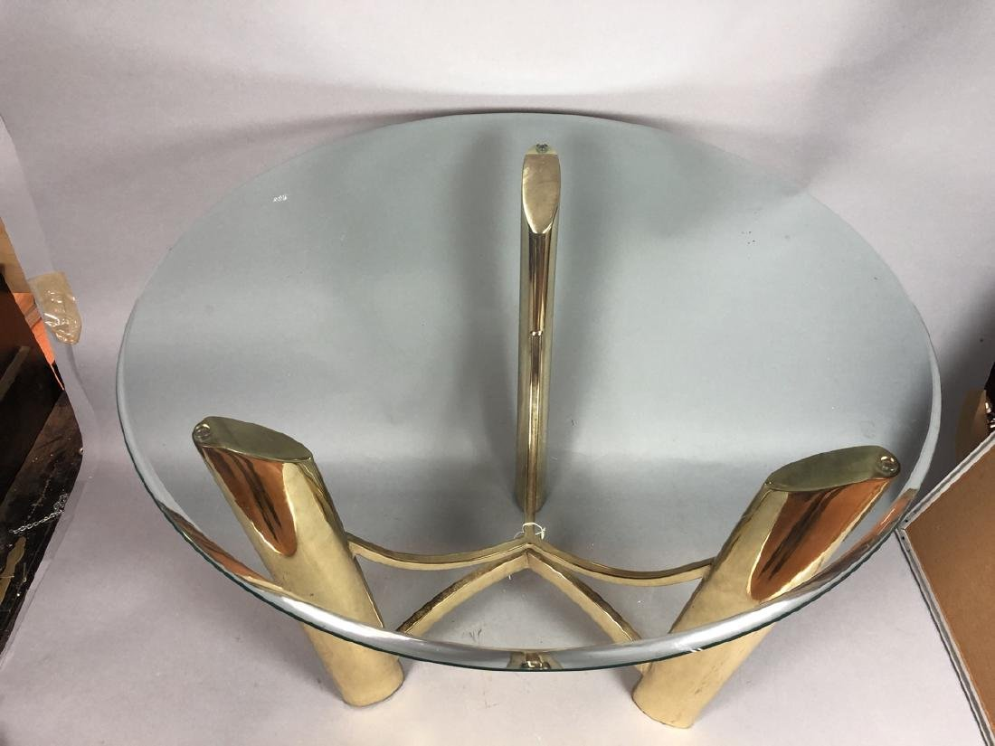 Tri Legged Modern Brass Glass Side Table. - 2