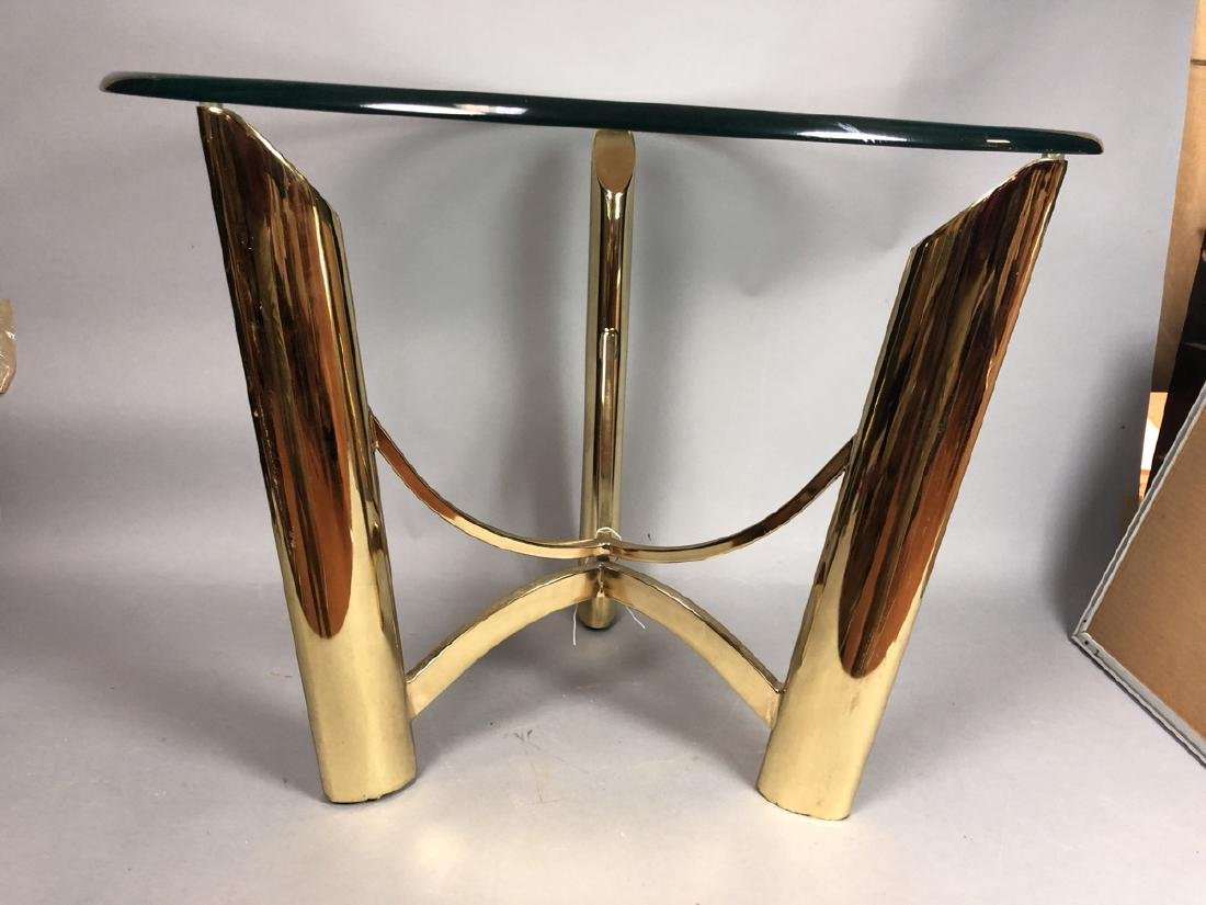 Tri Legged Modern Brass Glass Side Table. - 3