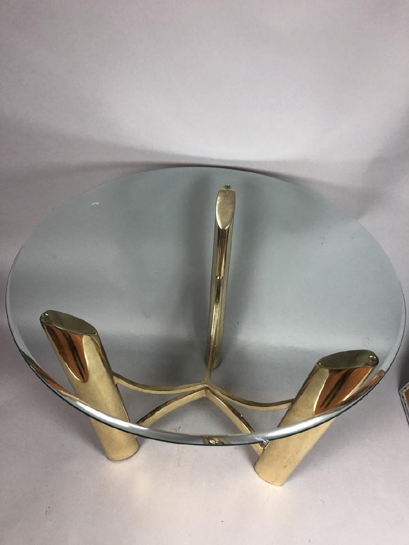 Tri Legged Modern Brass Glass Side Table. - 5