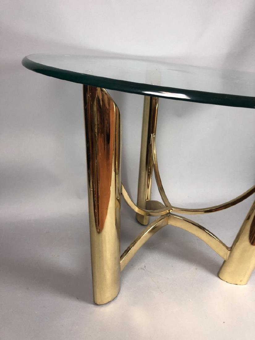 Tri Legged Modern Brass Glass Side Table. - 6