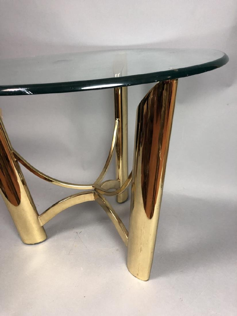 Tri Legged Modern Brass Glass Side Table. - 7