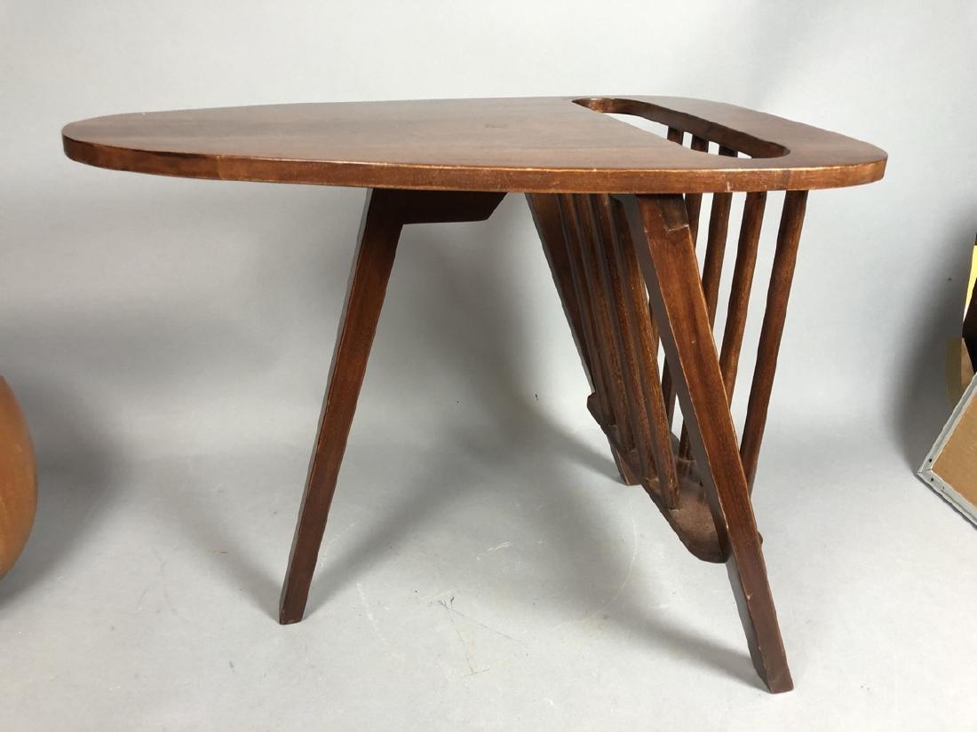 Modern Guitar Pick Form Wood Magazine Rack Table. - 5