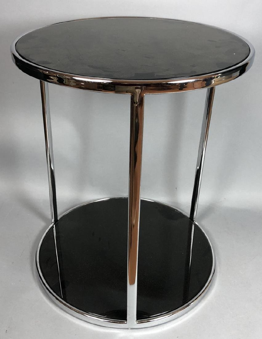 Chrome Modern Drum Form Side Table. Chrome frame