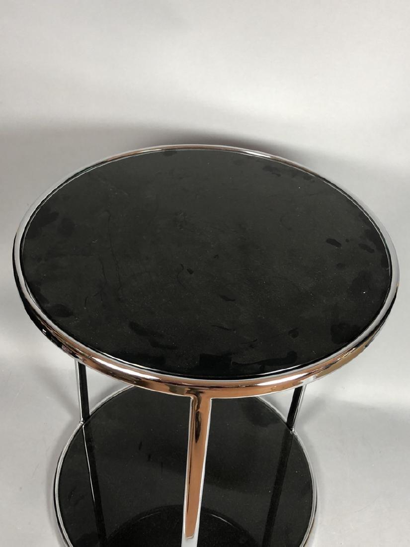 Chrome Modern Drum Form Side Table. Chrome frame - 2