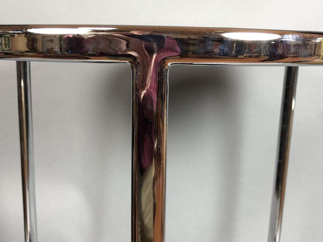 Chrome Modern Drum Form Side Table. Chrome frame - 3