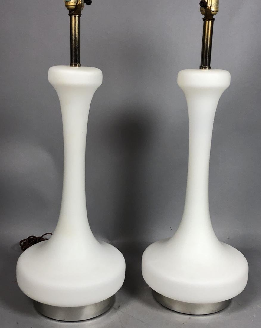 Pr LAUREL Frosted White Glass Modern Table Lamps.